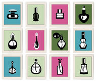 Set icons perfume of  bottles  and  containers оа fragrance li Royalty Free Stock Photography