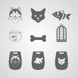 Set of Icons for Pets-shop Stock Photography