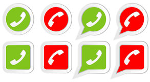 Set of Icons with phone handset in rounds, squares and speech bubbles vector illustration