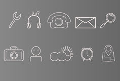 Set of icons on phone, smart phone, white icons on grey background, set of simple icons Royalty Free Stock Images