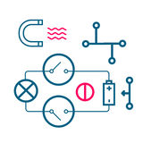 Set of icons of physical processes Stock Images