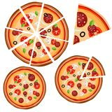 Set of icons with pizza whole and pieces on a white background. Vector illustration royalty free illustration