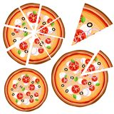 Set of icons with pizza whole and pieces on a white background. Vector illustration stock illustration