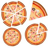 Set of icons with pizza whole and pieces on a white background. Vector illustration Stock Photo