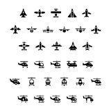 Set icons of planes and helicopters Stock Photo