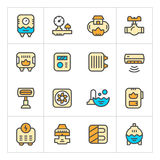 Set line icons of heating Royalty Free Stock Photos
