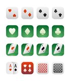 Set of icons with playing cards Royalty Free Stock Images