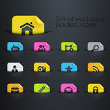 Set of icons in the pockets. Set of icons in different colors and situated in the pockets, perfect elemet for your website templates Royalty Free Stock Photography