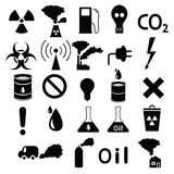 Set of icons: pollution, industrial, hazardous Royalty Free Stock Image