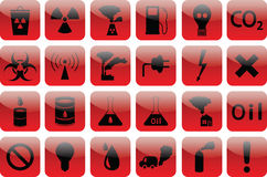 Set of icons pollution  RED Royalty Free Stock Photo