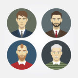 Set icons portraits of men closeup Royalty Free Stock Photography