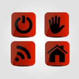 Set of icons - Power, Hand, Wi fi and Home icons. Vector Stock Images