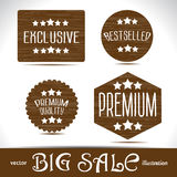 Set icons Premium quality best choice labels on wood textured Stock Image