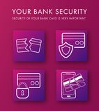 Set icons of protection bank card. Deactivation or blocked the card if it was break-in. Outline white Icons of broken credit cards on a pink-purple background Stock Image