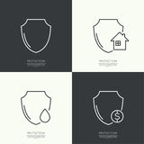 Set icons of protection. The concept of home protection, financial stability, water resistance, shield. minimal. Outline. abstract background Royalty Free Stock Images