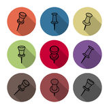 Set of icons pushpins, vector illustration. Stock Image