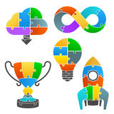 Set icons of the puzzle Stock Image
