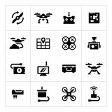 Set icons of quadrocopter, hexacopter, multicopter and drone Royalty Free Stock Photos