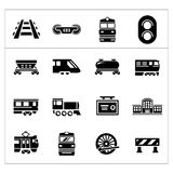 Set icons of railroad and train Stock Photography
