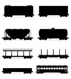 Set icons railway carriage train black outline silhouette vector royalty free illustration