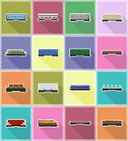 Set icons railway carriage train flat icons vector illustration Stock Images