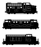 Set icons railway locomotive train black outline silhouette vect Stock Photo