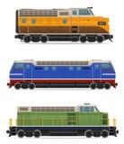 Set icons railway locomotive train vector illustration. On white background Stock Photos
