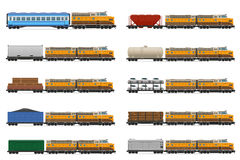 Set icons railway train with locomotive and wagons vector illust Royalty Free Stock Photography