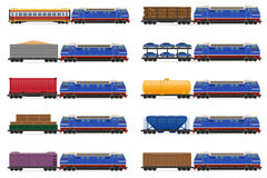 Set icons railway train with locomotive and wagons vector illust. Set icons railway carriage train vector illustration  on white background Stock Photo