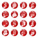 Set of icons of red color on a subject bank. Stock Images