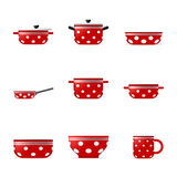 Set of icons of red cookware Royalty Free Stock Photography