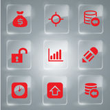 Set of icons red. Red Icons Set Vector In Glass For Design Royalty Free Stock Photos