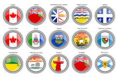 Set of icons. Regions of Canada flags. Royalty Free Stock Photography