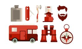 Flat vector set of icons related to camping and travel theme. Camper van, hipster haircut , tools and accessories royalty free illustration