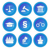 Set of icons related to the court, crime and the law. Royalty Free Stock Photo