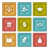 Set of icons related to the court, crime and the law. Royalty Free Stock Photos