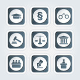 Set of icons related to the court, crime and the law. Stock Image