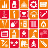 Fire icons. A set of icons related to the element of fire and combustion Royalty Free Stock Photography