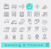 Set of icons related to finance and banking. Royalty Free Stock Image