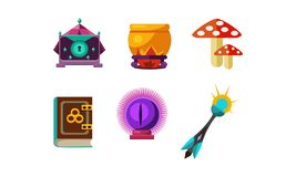 Flat vector set of magic items. Crystal ball, mushrooms, small casket, cauldron, book of spells and wand vector illustration