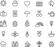 Spring icons. Set of twenty five icons related to Spring among them  weddings, christian cross, eggs, easter, flowers, showers, rainbow, seeds,  tulips, nesting Royalty Free Stock Photography