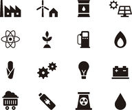 Set of icons relating to energy. Set of icons relating to different forms of energy and storage, white background Royalty Free Stock Photography