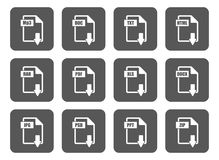 Simple file extension square file labels icon set. Set of the icons representing different file types square version Royalty Free Stock Photography