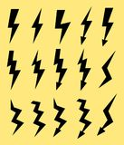 Set of icons representing lightning bolt, lightning strike or thunderstorm. Suitable for voltage, electricity and power. Signs.  illustration EPS Royalty Free Stock Photos