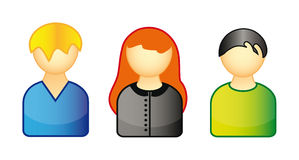 Set of icons representing people Stock Photos