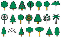 Set of icons representing trees. Set of geometric icons illustrating a variety of tress including fir, palm, cherry, elm, lime and holly, white background Royalty Free Stock Image
