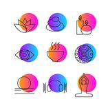 Set of icons rest. Set of icons relaxation, meditation, zen, rest. Symbols spa - massage, stones, candles, yoga relax art therapy Vector illustration Royalty Free Stock Photography
