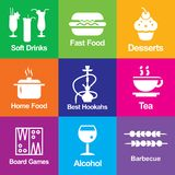 Set of icons for a restaurant, cafe, bar. Set of icons for a restaurant cafe bar shisha drinks game alcohol barbecue hamburger food rest home food tea dessert vector illustration