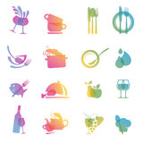 Set of icons for restaurants. Set of  colorful food and drink icons for restaurants Stock Image