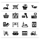 Set icons of retail and supermarket equipment. Isolated on white royalty free illustration